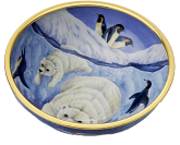 "Polar Bear Bowl (AB1-PB)  4.5"" diameter. Freehand painted by Sandra Selby. Limited Edition of 25."