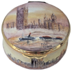 "London Scenes (PLS-LS) 2"" diameter. Parliament on lid, Windsor Castle on base, painted inside with Tower Bridge and St. Pauls Cathedral. Freehand painted by Peter Graves. Limited Edition of 25."