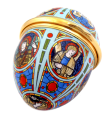 "2015 Easter Egg (08/10480) 2.25"" H x 1.69"" D. Designed after the Gordon Castle Chapel's stain glass windows."