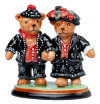 "Pearly King & Queen Teddies (000/09693) 3"" tall x 3"" diameter."