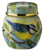 "Blue Tits Ginger Jar (2nd in British Garden Birds series)  (S2-BT)  2"" tall. Freehand painted by Sandra Selby. Limited Edition of 25."