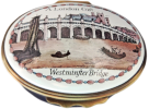 "Westminster Bridge A London Gift (02/1827) 2.12"" diameter Oval. Inside Lid: ""Replica of an 18th century Bilston enamel box"""