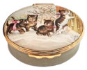 "Kittens at Door (02/5810) 2.12"" oval. Base is an olive greenish color. Inside Lid: drawing of a bow/ribbon. Smithsonian word and symbol on base."
