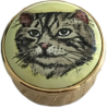 "Gold Based Striped Cat (Halcyon Days) 1"" diameter. Gold colored metal basket weaved base."