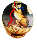 Honeymoon Cat (Crummles)  1.5 oval. From the Honey-moon by John Collett 1764. (Some metal tarnish)