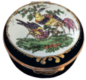 "Exotic Birds (Crummles) 2.5"" diameter. Inside Lid: ""Exotic birds, like these from a Worcester porcelain teapot, characterize rococo decoration of the eighteenth century."""