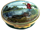 "Fishing (02/Halcyon Days) 2.12"" Oval. Inside Lid: Line painting of a fishing rod and basket."