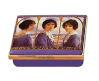 "Queen Mother Lavendar & Gold (11/8647)  3.25"" x 2.5"" x 1"".  Marks the 5th anniversary of her death. Triple portrait by Samuel Warburton painted in 1923. Limited Editionof 250."