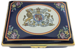 "QE II Golden Jubilee (Coat of Arms) (11/6691) 2.87"" x 2"" x 1""  Inside Lid: ""A Tribute to Her Majesty Queen Elizabeth II on her Golden Jubilee 1952 - 2002""  Script inside back and bottom. LE 500 & Certficate"