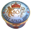 "QE II 80th Birthday Music Box (33/8272)  2"" diameter. Commissioned by Royal Mint. Plays ""God save the Queen"". Limited Edition of 250."