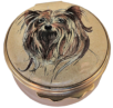 "Yorkie (01/0310) Bilston & Battersea/Halcyon Days - 1.62"" diameter. Inside Lid: drawing/painting of a sitting Yorkie in a dog bed."