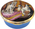 "Gilbert Collection Dogs (46/6685) 1.5"" oval. Inside Lid: ""Detail from a French enamelled gold box, c1763, in the Gilbert Colletion, Somerset House"""