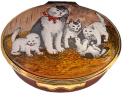 "Cat Family (02/5867) 2.12"" oval. Inside Lid: Painted kitten on straw."