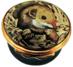 "Harvest Mouse (01/0314) Bilston & Battersea/Halcyon Days -  1.62"" diameter. Inside Lid: Mouse on wheat drawing/painting."