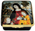 "Madonna & Child (58/7380) 2"" x 2"" . Inside Lid: Design inspired by Virgin and Child with St. John the Baptist Tempera on wood by Bernardino Pintoricchio 1454 - 1513 in the collections of the Fitzwilliam Museum, Cambridge.  Limited Edition of 250."