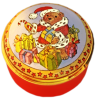 "The Christmas Teddy (15/5713) 1.25"" diameter. Lid unscrews. Inside Lid: Drawing of presents."