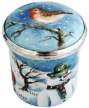 "Robin & Snowman Box (PX-RS) 1"" dia. x 1"" H. Freehand painted by Mick Cooke. Limited Edition of 25."