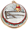 "Winnie The Pooh Ornament - Pooh & Piglet on Fence (01/6029) 1.62"" diameter. Both sides the same picture."
