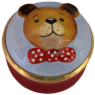 "Teddy Sculptured (15/4732) 1.25"" diameter Inside Lid: clear white enamel."