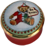 "Teddy ""Be Happy"" (04/6195) .87"" diameter. Screw on/off lid with no paintings inside."