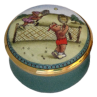 "Teddy Tennis (15/4273) 1.25"" diameter. Inside Lid: Lady Tennis Teddy painting/drawing."