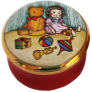"Teddy & Rag Doll (04/3525) .87"" diameter. Screw on/off lid with no drawing or painting inside."