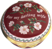 "My Darling Wife (01/7170) 1.62"" diameter. Inside Lid: ""With all my love"" Painted flowers and pink/light red tinted enamel."